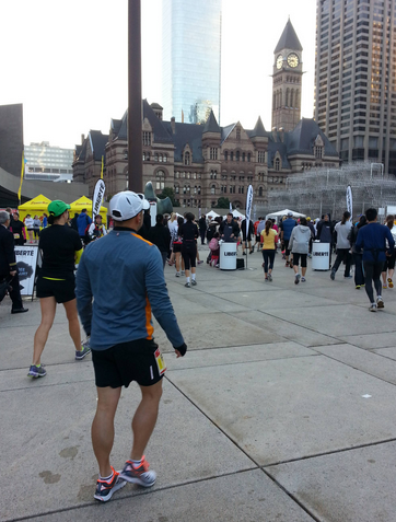 Runners at Nathan Philips Square.  Photo credit: Chantal Penrose